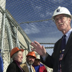 Gov. Angus King talks to prison officials and workers Monday, Nov. 19, 2001, in a secure section while waiting to enter the Mountain View Detention Center in Charleston for a tour. The $25 million facility will house 140 juvenile inmates.