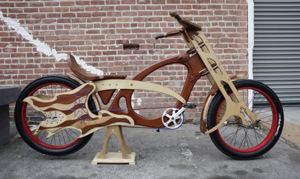 A hand-built wooden bicycle at Masterworks Wood and Design in San Jose, California, on March 13, 2012. The company offers &quotart that you can ride.&quot