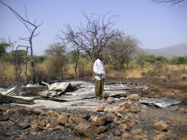 Two women from Waldo County who are working in a northern region of Kenya that has been suffering from tribal unrest saw the remains of this man's burned-out home over the weekend. &quotHis wife had been killed a year ago, and he is raising his three children, plus three others who have lost their parents,&quot Sandra Squire of Belfast wrote in an email. &quotThere is nothing left for any of them.&quot
