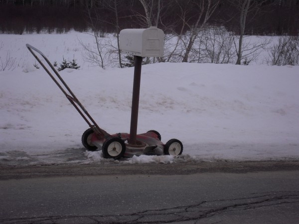 Among the inventive ideas that can be seen just off various roads in The County are this mail box attached to an old lawnmower that can be wheeled to the roadside just before the mail is delivered.