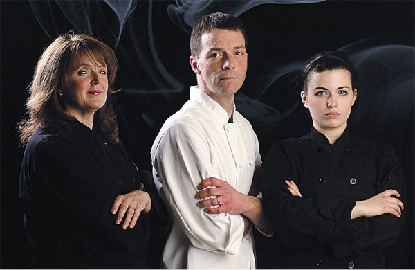 The three local professional chefs competing in the Maine Chef Challenge are (from left to right) Laurie Turner, Jason Payne, and Meghan Woodbury. Each chef will compete with a team of three sous chefs in a test of skill and creativity to benefit the Eastern Maine Community College's Maine Hospitality Institute. This is the first year that Eastern Maine Community College has held the Maine Chef's Challenge.