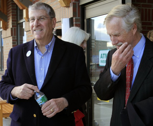 Eliot Cutler (left) talks with former independent Gov. Angus King after addressing a  group of supporters in Saco in November 2010.