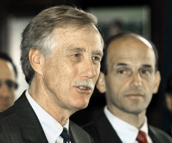 In this Oct. 2005 file photo, former Gov. Angus King (left) and Maine Gov. John Baldacci hold a news conference in Portland, Maine.