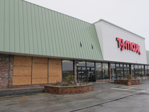 Police allege that Andrew Kephart, 26, of Ellsworth used a PVC pole to break these three windows and several more at Maine Coast Mall in Ellsworth in the early-morning hours of Saturday, March 24, 2012. Kephart is facing criminal mischief and criminal trespassing charges.