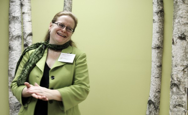 Becky DeKeuster, executive director of the Wellness Connection of Maine, comments on the facility in Hallowell, at the state's latest marijuana dispensary in January 2012.