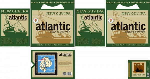 New label designs for Atlantic Brewing's New Guy IPA, which is being introduced this year in bottle form.