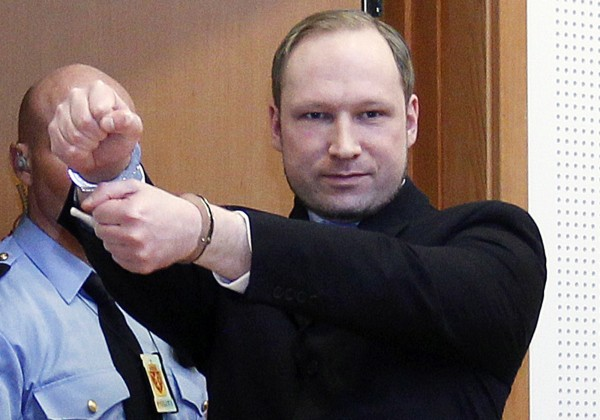 Anders Behring Breivik, a right-wing extremist who confessed to a bombing and mass shooting that killed 77 people on July 22, 2011, arrives for a detention hearing at a court in Oslo, Norway on Monday, Feb. 6, 2012.