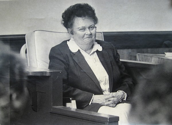 This 1982 file photo shows madam Ruby Garrett during the trial of two men charged with robbing her brothel in Butte, Mont. Garrett, who ran the last brothel standing in the mining town's once-lively red-light district, died Saturday March 17, 2012. She was 94