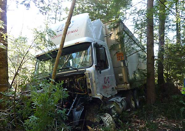 After swerving off Interstate 295 northbound in Bowdoinham on Wednesday morning, a tractor-trailer carrying a load of butter came to rest deep in a wooded section of the median area.