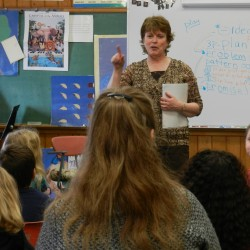 Author Lynn Plourde speaks at Fairmount School