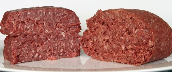 This Thursday, March 15, 2012, photo shows ground beef containing what is derisively referred to as &quotpink slime,&quot or what the meat industry calls &quotlean, finely textured beef&quot (right) and pure 85% lean ground beef, in Concord, N.H. Under a change announced Thursday by the U.S. Department of Agriculture, districts that get food through the government's school lunch program will be allowed to say no to ground beef containing the ammonia-treated filler and choose filler-free meat instead.
