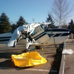 A Cessna plane that made a hard emergency landing on Route 52 in Belfast on Tuesday evening.