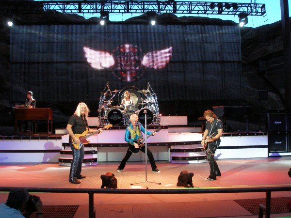 REO Speedwagon performs during the Love on the Run tour, at Red Rocks Amphitheater in Morrison, Colorado on July 21, 2010.