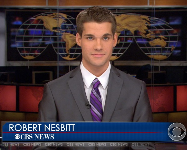 Robert Nesbitt of Hodgdon anchored a practice newscast while interning at CBS Evening News. He is studying broadcast at the New England School of Communications in Bangor.