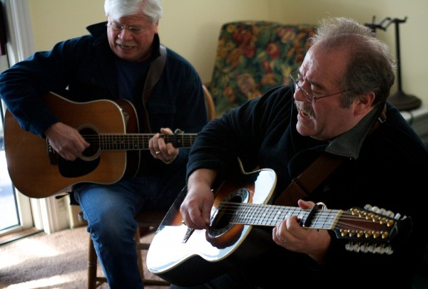 Brothers Steve (left) and Chuck Romanoff of Schooner Fare rehearse in Scarborough Sunday March 4, 2012 for the 34th annual Schooner Fare/Devonsquare reunion show on Saturday. The yearly event brings members of both related folk bands together to raise money for the Jack McPhillips Memorial Fund.