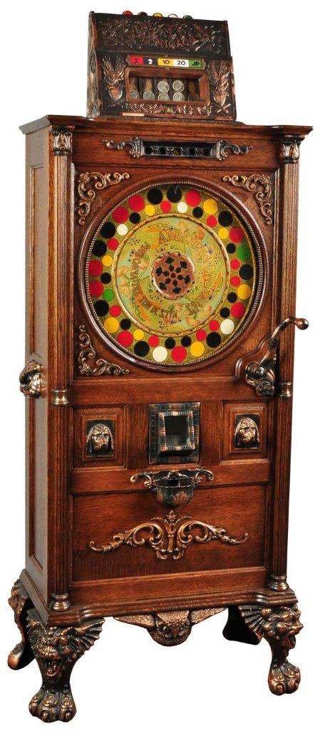 The circa-1900 Mills 50-cent Chicago upright slot machine brought $66,000 in a recent sale at Morphy's Auctions.