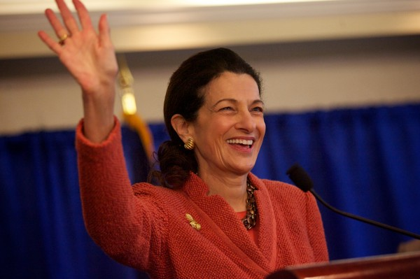 Sen. Olympia Snowe waves goodbye at the end of a press conference in Portland on Friday.
