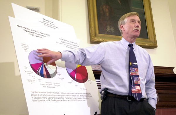 Gov. Angus King speaks at a news conference to announce his plans for the state budget Tuesday, Jan. 8, 2002, at the State House in Augusta. King proposed taking $98 million from Maine's Rainy Day Fund, but a budget package he unveiled Tuesday calls for no general tax increases and no cuts in public school subsidies.