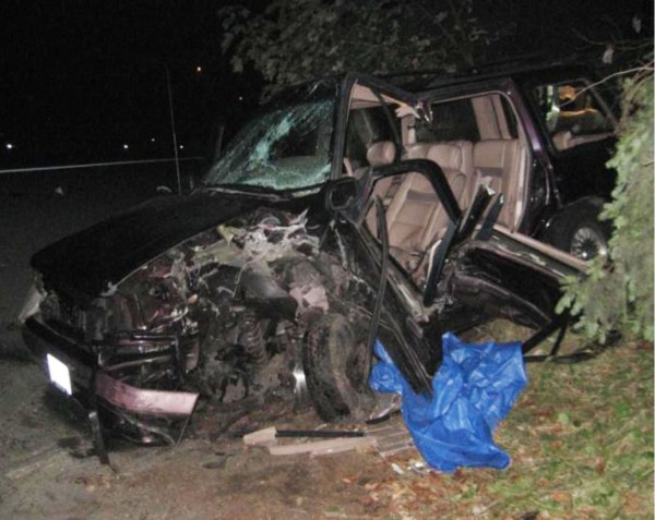 The Ford Explorer driven by Elisa Mefi after the collision with Adam Knapp''s vehicle in Burien, Wash.
