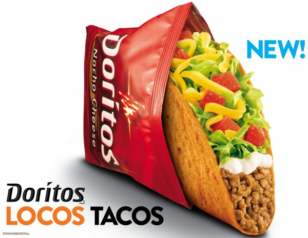 This photo provided by Taco Bell shows a new advertisement for Doritos Locos Tacos shells. The Mexican-style chain rolls out the Doritos Locos Tacos shells at midnight on Wednesday, March 7, 2012 at its nearly 5,600 restaurants nationwide. The fast-food chain, a unit of Yum Brands Inc., calls it the biggest product launch in its 50-year history.
