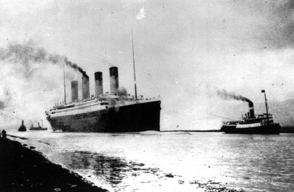 In this April 10, 1912 file photo, the Luxury liner Titanic departs Southampton, England, for her maiden Atlantic Ocean voyage to New York. An expedition team using sonar imaging and robots has created what is believed to be the first comprehensive map of the entire Titanic wreck site on the bottom of the North Atlantic Ocean.