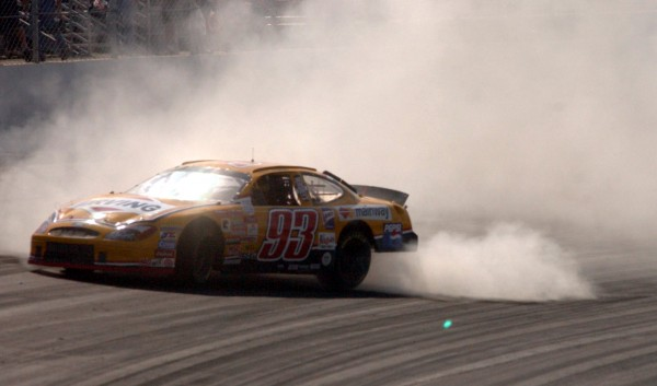 Travis Benjamin of Morrill looses control of his car in turn one during the Busch North 125 at New Hampshire International Speedway in Loudon, N.H., in 2002. Benjamin will keep racing this season after obtaining new sponsorship.