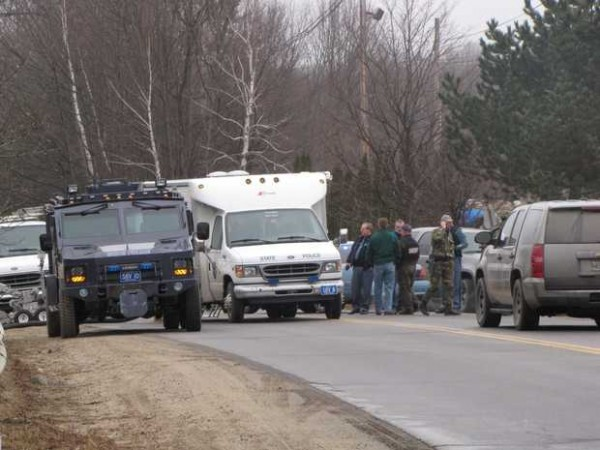 Police have closed off access to the Verso Mill in Jay while they respond to a standoff situation at the mill's administration building. A spokeswoman for the mill said that all employees were safe and that the situation was confined to the administration building only. Meanwhile dozens of logging trucks delivering wood to the mill have been left waiting in a line on the road outside of the mill.