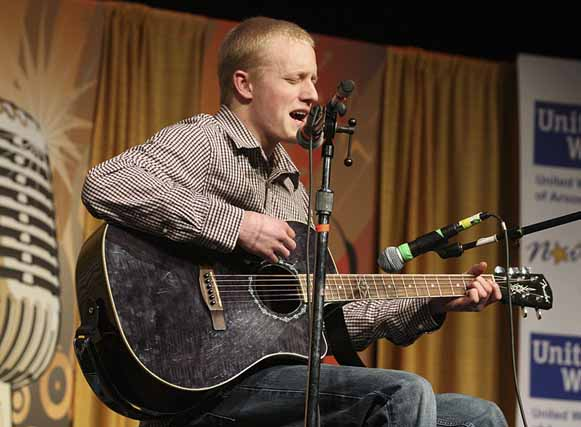 "Nathen Cyr of Patten belts out the song ""Everything Changes"" on March 2 during the Northern Star singing competition in Houlton."