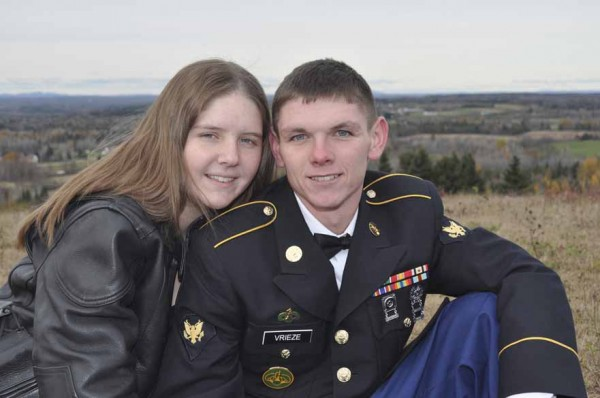 Brian Vrieze proposed in October to bride-to-be Ashley Johndro while home on leave from Iraq. The Caribou couple now has entered the Real Maine Wedding of the Year Contest and needs community support online to win the wedding of their dreams.