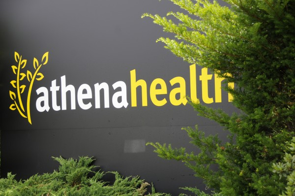 An entrance sign is seen at athenahealth's offices in Belfast in July 2011.