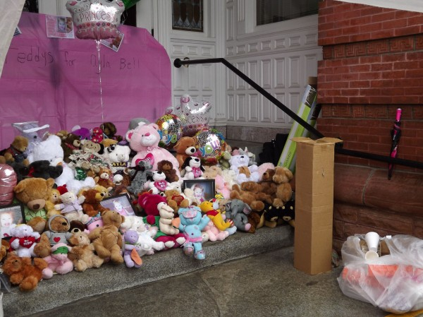Teddy bears are lined on the steps of Waterville City Hall during a vigil for missing toddler Ayla Reynolds on Saturday, March 3, 2012.