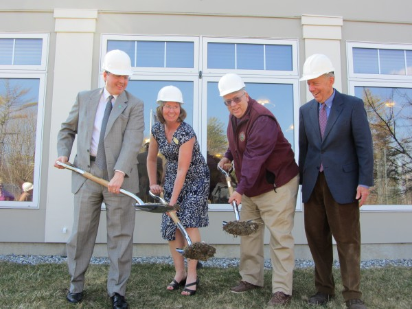 The formal groundbreaking for the expansion of the Bartlett House in Rockland was held Wednesday afternoon. Pictured are, from left, Jay Violette, vice president and senior loan officer for commercial lending at TD Bank; Mary Eads, the executive director for the Bartlett House; Rockland Mayor Brian Harden; and John Morris, the architect and developer for the project.