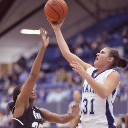 Rebecca Knight of Alfred, seen here during a game last November, has decided to transfer out of the University of Maine.