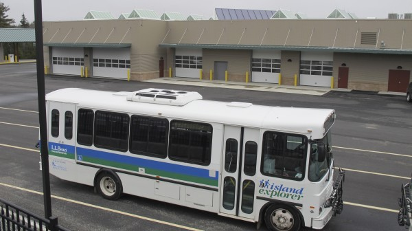 An Island Explorer bus, parked outside the new Island Explorer operations center earlier this month in Trenton. The new $14 million facility will serve as the home for the seasonal propane-powered bus system, which has carried more than 4 million riders on and near Mount Desert Island since 1999. The fare-free bus service is scheduled to start for the summer on June 23, as it does every year.