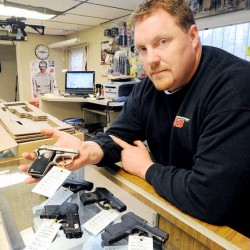 "Handgun and rifle sales are up at G3 Firearms in Turner, owner Chris Jordan said. ""The phone started ringing 20 minutes before the shop opened and within 40 minutes, we were looking for seven different guns that I don't have in the shop,"" Jordan said."