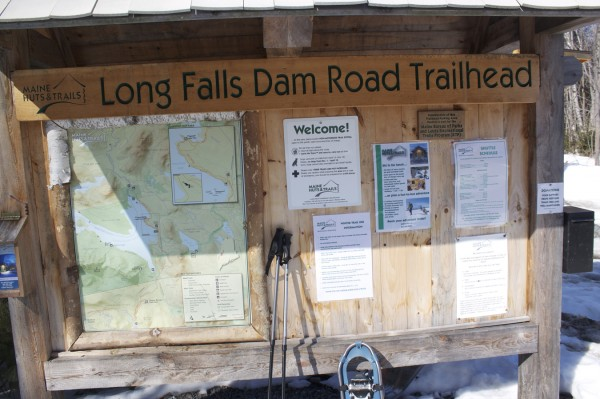 Long Falls Dam Road Trailhead, 22 miles outside the town of North Portland, is where snowshoers, skiers and hikers start their trip to Flagstaff Lake Hut, the second wilderness lodge to be added to the Maine Huts & Trails network in western Maine.