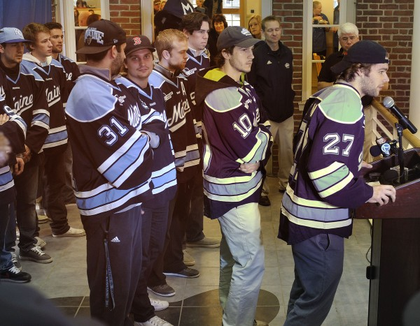 Seniors on the UMaine men's hockey team say a few words to the crowd assembled at a send-off rally held in their honor at the Memorial Union in Orono, Wednesday, March 14, 2012.