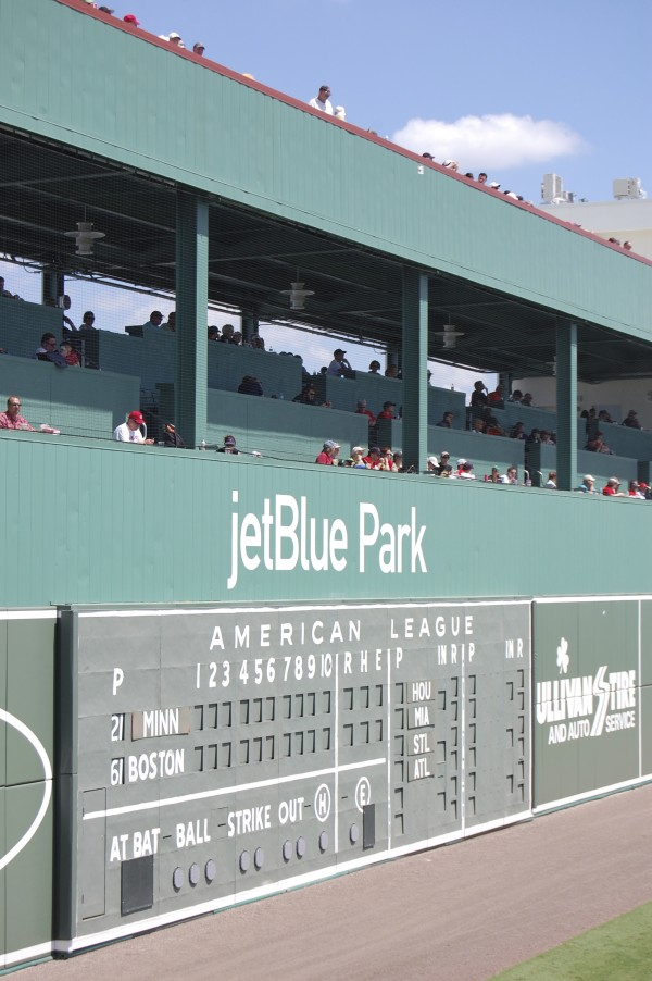JetBlue Park in Ft. Myers, Fla., more commonly known to Red Sox fans as Fenway South, was built to incorporate features of Fenway Park in Boston, including a mechanical, field-level scoreboard and a 43-foot left-field Green Monster that has interior seating. The new, $78 million facility's 11,000 tickets sold out quickly this spring.