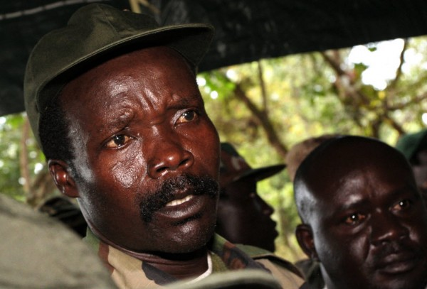 The leader of the Lord's Resistance Army, Joseph Kony, answers journalists' questions following a meeting with UN humanitarian chief Jan Egeland at Ri-Kwamba in southern Sudan in November.