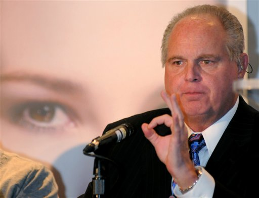 Radio talk show host Rush Limbaugh speaks during a Miss America news conference at Planet Hollywood in Las Vegas in 2010.