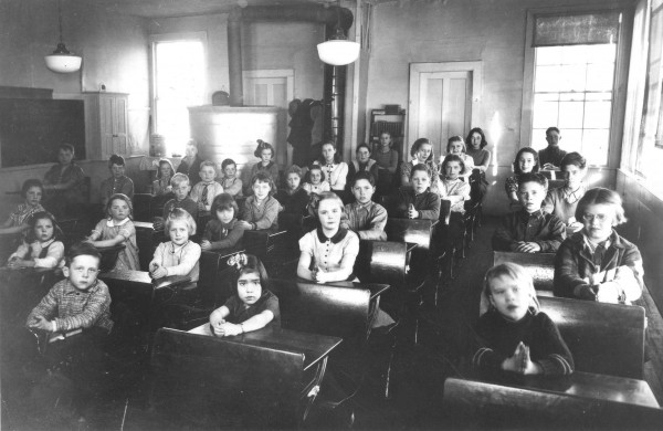 Students sat in Lincolnville's one-room Center School in 1939. The Lincolnville Historical Society is working to move the 1880s school across the street and turn it into a new library for the town.