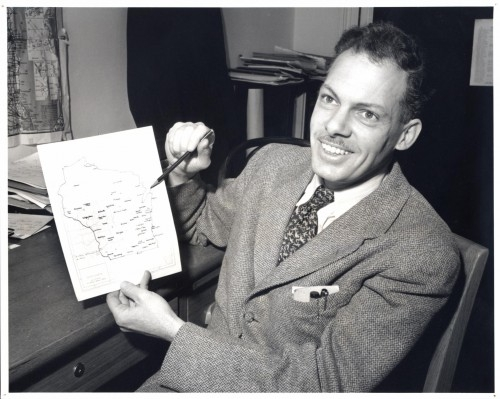 DARE founder Fred Cassidy in 1949 as he was developing the Wisconsin English Language Survey, which was a pilot project for DARE.