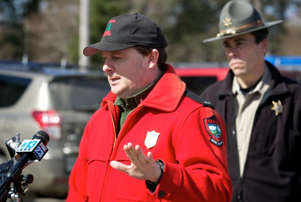 Lt. Kevin Adam of the Maine Warden Service (left) and Lt. Rand Maker of the Lincoln County Sheriff's Department speak at a press conference outside a fire station in Dresden on Thursday, March 15, 2012 regarding a missing boy, Micah Thomas. Minutes later, he was found safe on the banks of the Eastern River.