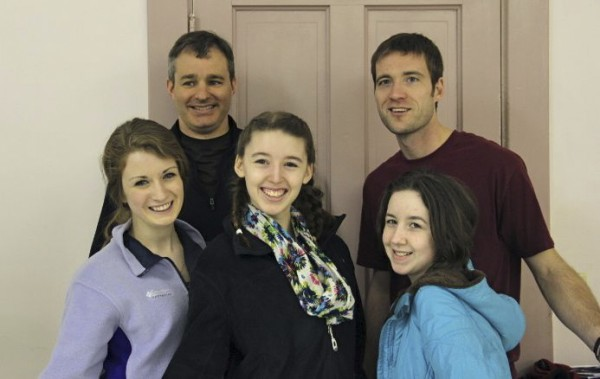 John Bapst students (from left) Rosie Upton, Stephanie Colavito and Ayla Geel, and community members Andrew Myers and Nathan Roach, will be among the more than 40 singers who will present the Bangor Rotary Club's Music Off Broadway show Saturday and Sunday, March 24-25, at Peakes Auditorium, Bangor High School.