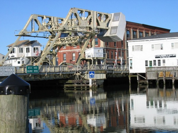 The drawbridge over the Mystic River has undergone extensive reconstruction beginning in 2000.