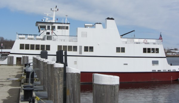 The newest Maine State Ferry, the E. Frank Thompson, is docked at the ferry terminal in Rockland.
