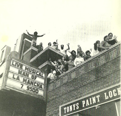 A 1973 photo from the first New Surry Theatre production of &quotMan of La Mancha.&quot The theater group reopened The Grand, which had been closed for many years, and only used for occasional boxing matches and dances. New Surry Theatre rented the building to use as a theater for its second year as a Summer Theatre and Acting School.