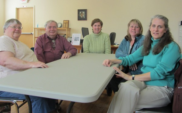 Rockland District Nursing Association clients Fayelene and John Hawkins, Clinical Director Carol Melquist, adult youth fast adviser Margaret Cuccinello, and Agency Director Peta vanVuuren sit at the association's office in Rockland recently.
