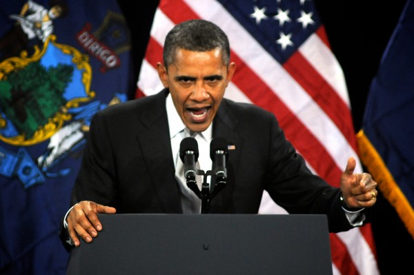 President Barack Obama speaks to a crowd at Southern Maine Community College in South Portland on Friday March 30, 2012.