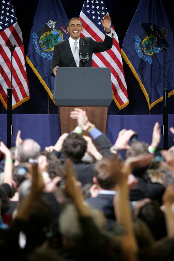 President Barack Obama speaks to a crowd at Southern Maine Community College in South Portland Friday March 30, 2012.